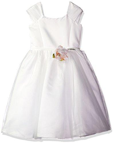 Lavender Toddler Girls' Flower Shirred Sleeve Dress W/Satin Princess Bodice, Ivory, (Princess Bodice)