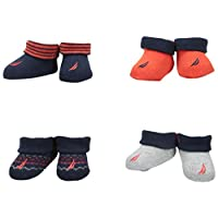 Nautica Baby Boys' 4 Pack Assorted Booties, Red/White, 0-6 Months