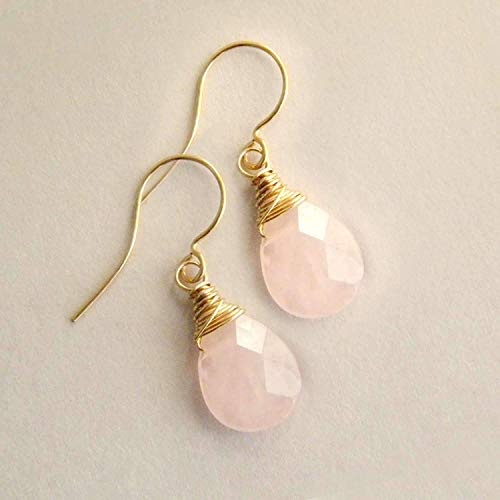 Natural Rose Quartz Earrings Pink Gemstone Drops in 14k gold fill