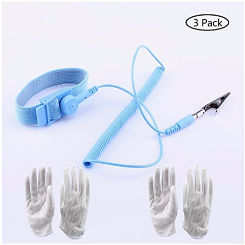 STETION Anti Static Wrist Strap, ESD Grounding Socket, Equipped ESD Strap with Alligator Clip, Extra 2 Pairs of Anti-Static Gloves, for LCD/LED/PCB/Touchscreen/Semiconductor (Wrist Strap and Gloves)