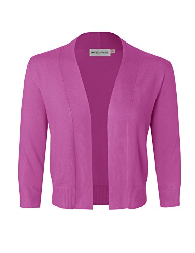 3/4 Length Sleeve Bolero (MAYSIX APPAREL 3/4 Sleeve Solid Open Bolero Cropped Cardigan For Women Fuchsia L)