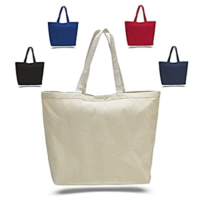 "23"" Extra Large Canvas Tote Bag w/Velcro Closure Pool Beach Shopping Travel Tote Bag Eco-Friendly"