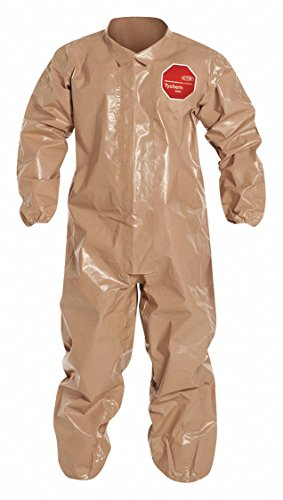 - Dupont C3125TTNLG000600 CPF 3 Coverall with Elastic Wrists and Ankles, Taped Seam, Large, Tan (Pack of 6)