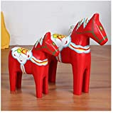 Yingealy Beautiful and Practical 2PCS/Set Swedish Red Horse Wood Crafts Nordic Trojan Horse Wood Hand-Painted Home Decor Furnishing Ornament