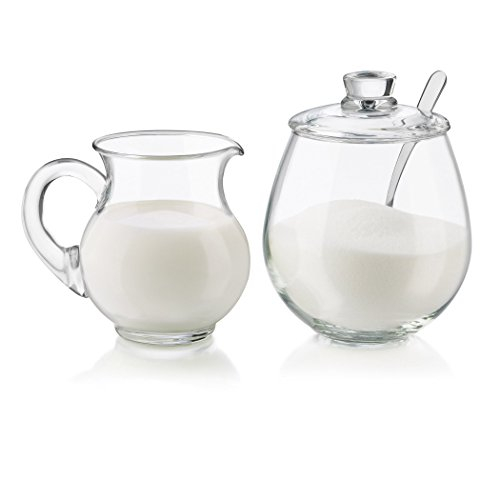 Libbey 4 Piece Glass Sugar and Creamer Set, Clear