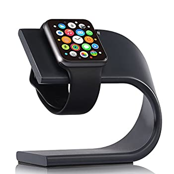 Apple Watch Stand, VEGO Apple iWatch Stand Charging Dock Stand Station with Aluminum Body Sturdy Holder for Apple Watch Series 1 Series 2, Sport Edition 42mm & 38mm (Black)