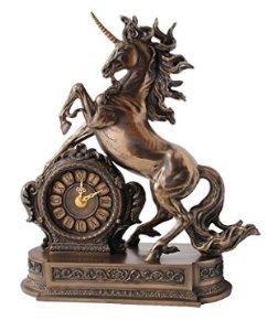 Rearing Unicorn Clock, Cold Cast Bronze Figurine, 12.75 Inch Tall (Clock Cast)