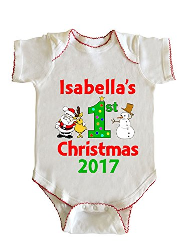 Isabella's First Christmas Baby Girl Infant Bodysuit by Fashion Greek White 12M (Isabella Baby Furniture)