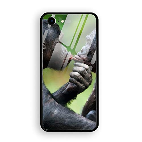 iPhone 8 Case, Animal Bonobo Monkeys Ape Tempered Glass Back Case with Reinforced TPU Bumper Scratch Resistant Hard Back Panel Cover for iPhone 7