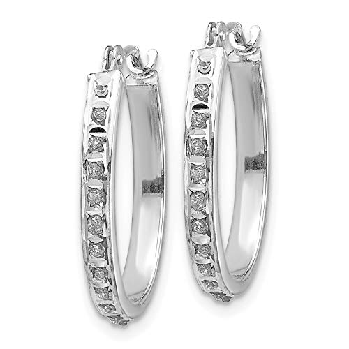 14k White Gold Diamond 3mm Oval Hinged Hoop Earrings w Gift Box Diameter- 19mm Color H-I, Clarity SI2-I1