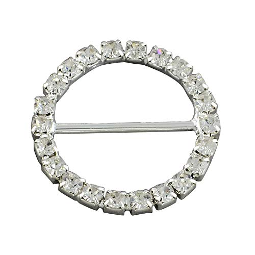 PH PandaHall About 20pcs 26mm Crystal Round Rhinestone Buckle Slider Glass Ribbon Buckles for Weeding Invitation Letter and Garment Decoration ()