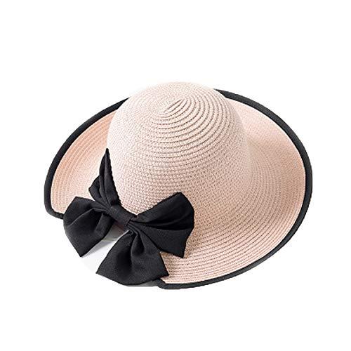 Straw Cap Ladies Summer Lightweight Breathable caps Shade Sun hat bifurcated Bow Sunscreen Beach,Pink]()