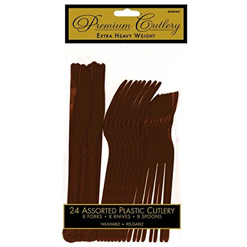 Premium Heavy Weight Assorted Cutlery | Chocolate Brown | Pack of 24 | Party Supply