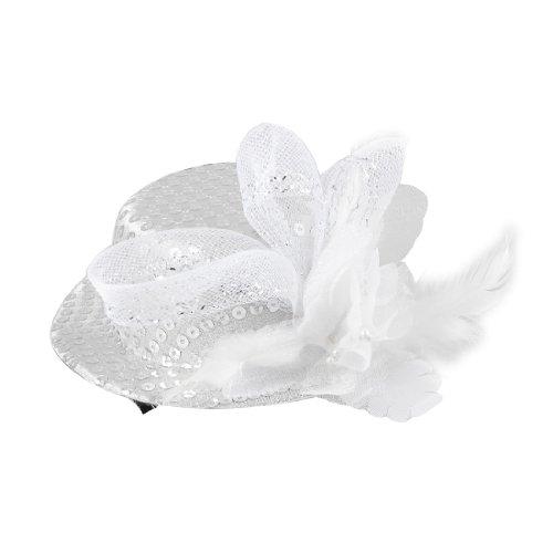 [Ladies Paillette Decor Wedding Mini Top Hat Hairclip Silver Tone] (Mini Top Hats)