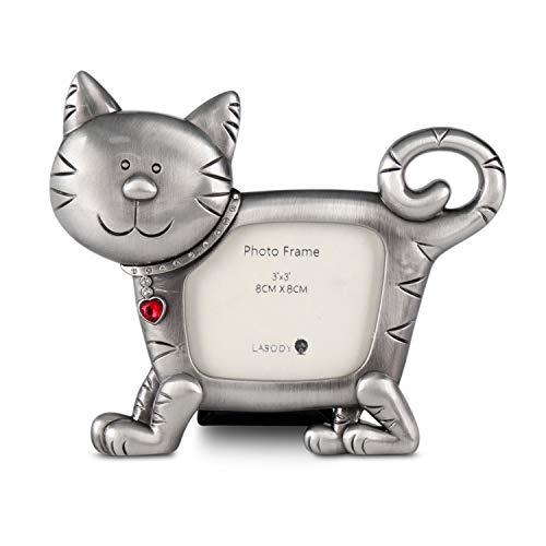 LASODY Pewter CAT PET Metal Photo Frame