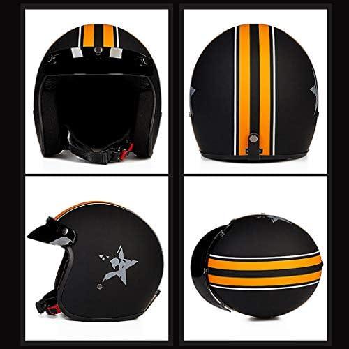 安全装置 ヘルメット - 大人のオープンフェイスレトロオートバイヘルメットユニセックス 個人用保護具 (サイズ さいず : M m)