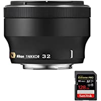 Nikon 3359 1 NIKKOR 32mm f/1.2 Lens (Black) with Sandisk Extreme PRO SDXC 128GB UHS-1 Memory Card
