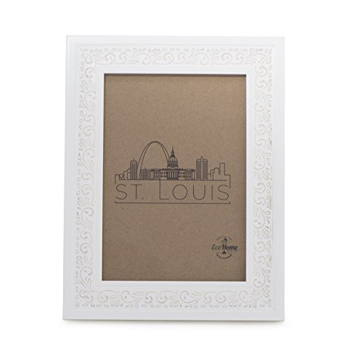 EcoHome 8x10 Picture Frame White - Ornate, Wall Mount or Photo Desktop Display ()