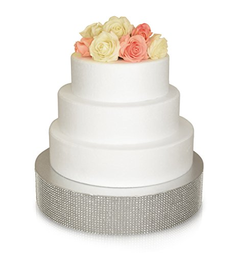 - Bling, Wedding Cake Stand/Drum (12 inch Round, Silver)