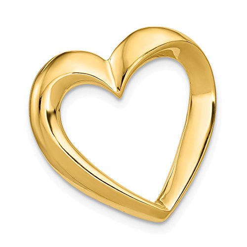 14k Yellow Gold Heart Slide Necklace Pendant Charm Omega Fine Jewelry Gifts For Women For Her ()