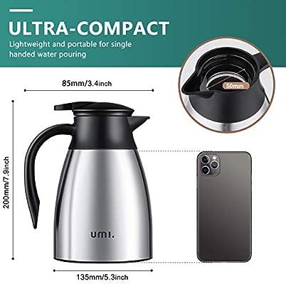 Umi. by Amazon - Jarra Térmica, Termo de Acero Inoxidable para café con doble pared de aislamiento al vacío, 1 L: Amazon.es: Hogar