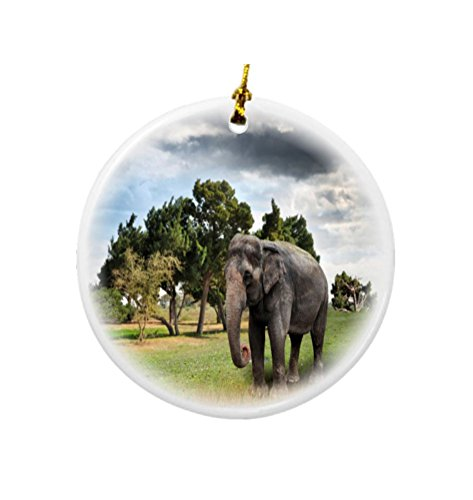 lephant Design Round Porcelain Two-Sided Christmas Ornaments ()