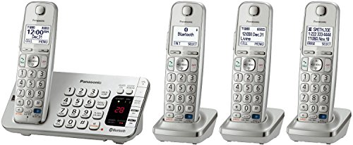 Panasonic Link2Cell KX-TGE274S 4-Handset 1-Line Bluetooth Enabled Cordless Phone, Silver (Certified Refurbished) (Handsets Bluetooth Enabled)