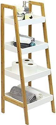 Hartleys Unidad de almacenaje Tipo Escalera de bambú con 4 baldas Blancas