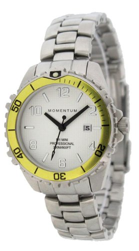 New St. Moritz Momentum M1 Mini Women's Dive Watch & Underwater Timer for Scuba Divers with Yellow Bezel & Stainless Steel Band