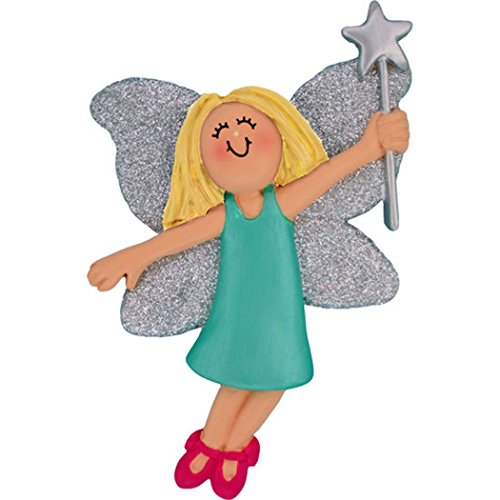Personalized Fairy Princess Christmas Tree Ornament 2019 - Beautiful Blonde Girl Teal Dress Slippers Silver Glitter Wings Star Wand Rhinestone Pixie Toy - Free Customization (Yellow Hair Female)