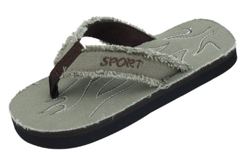 Starbay New Brand Men's Khaki Light Weight Canvas Flip Flops Sandals Size 12