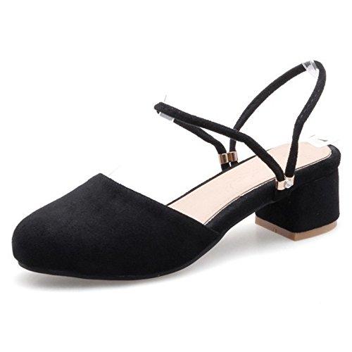FANIMILA Mujer Moda Ankle Strap Sandalias Cerrado Slingback Tacon Ancho Zapatos Negro