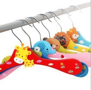 Roto - 8pcs Wooden Cartoon Animal Hangers Lovely Children Hanger /Clothes Tree/coat Hanger by Roto Market-Home Appliances & Furniture