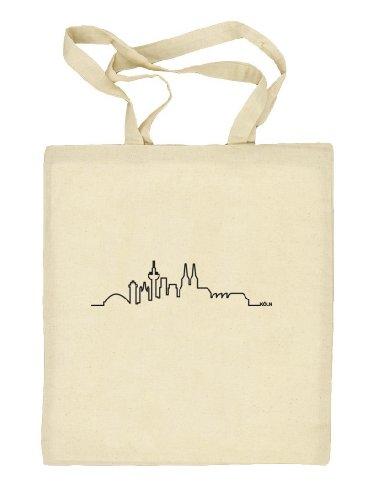 Shirtstreet24 Skyline Köln - Bolso de tela de algodón para mujer beige - naturaleza
