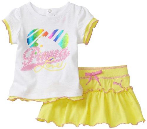 PUMA   Kids Baby Girls' Tee And Jersey Skort, White, 24 Months