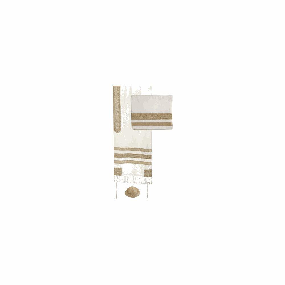 Yair Emanuel Gold Stripes Embroidered Cotton Tallit Set with Kippah 20'' W X 75'' L