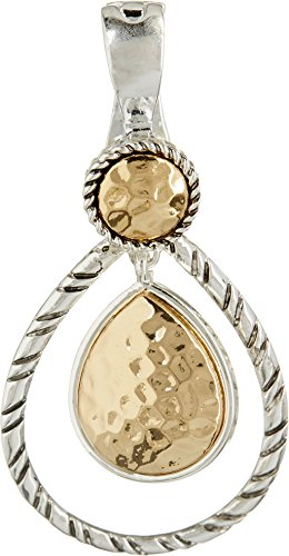 Wearable Art By Roman Hammered Teardrop Pendant One Size Two tone - Hammered Drop Pendant
