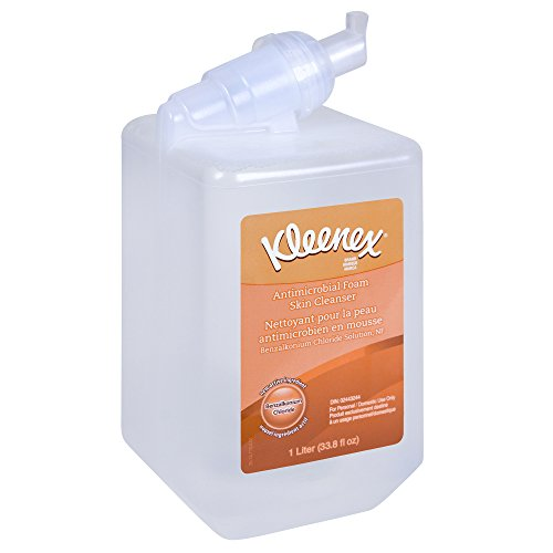 Kleenex Antibacterial Foam Skin Cleanser, NSF E-4 Rated (91554), 0.1% Benzalkonium Chloride, Unscented Soap, Clear, 1.0 L, 6 Packages/Case 0.1% Lotion