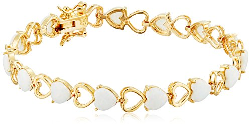 Gold Opal Bracelet (18k Yellow Gold Plated Sterling Silver Created White Opal Heart Tennis Bracelet, 7.25