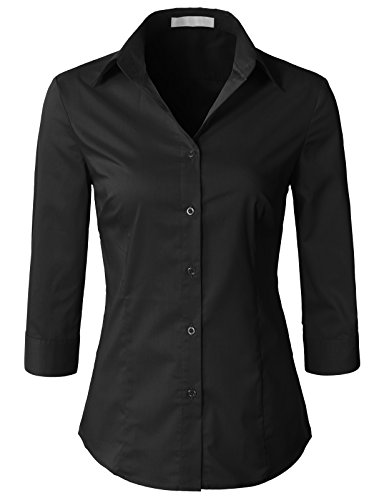 H2H Womens Office Formal Slim Fit 3/4 Sleeve Button Down Shirt Blouse Top Black M