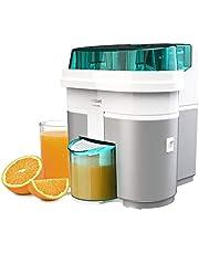 Cecotec EssentialVita Twice White elektrische citruspers, 90 W, dubbele kop en snijder, vruchtvleesfilter, glas 500 ml, vaatwasmachinebestendige onderdelen (4145)