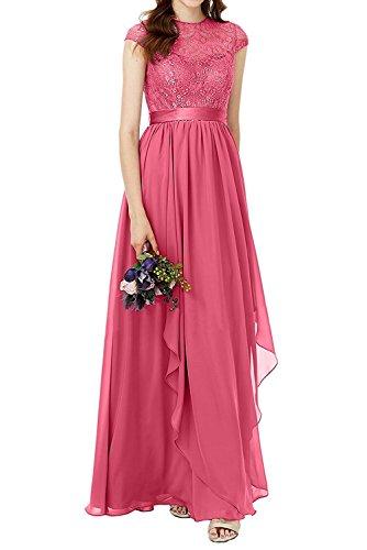 Abendkleider A Brautjungfernkleider Charmant Linie Chiffon Wassermelon Brautmutterkleider Lang Rock Damen Spitze Partykleider Lilac wXWw6qaZfO