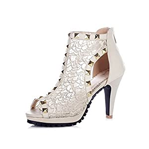 AllhqFashion Women's Open Peep Toe Cow Leather High Heels Sandals with Platform and Back Zipper, Beige, 4.5 B(M) US