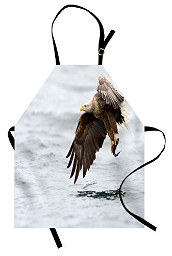 Ambesonne Eagle Apron, Bird with Feathers on Head and Tail C