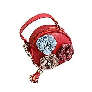 Wultia - Bags for Women 2019 WChildren Flowers Leather Circular Bag Flower Tassels Shoulder Messenger Bag Bolsa Feminina Red