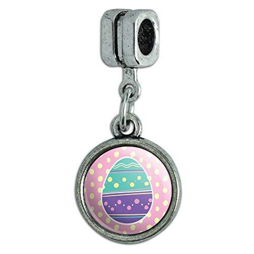 GRAPHICS & MORE Cute Easter Egg Turquoise Purple Polka Dots Italian European Style Bracelet Charm Bead