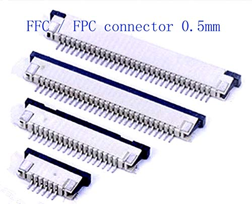 Calvas 10pcs FFC/FPC connector 0.5mm 4 Pin 5 6 7 8 10 12 14 16 18 20 22 24 26 28 30P Drawer Type Ribbon Flat Connector Top Contact - (Pins: 28P, Insert Type: Upper contact)