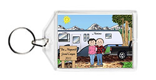 Personalized RV Lovers Fifth Wheel Key Chain made our list of personalized camping gifts for RV camp and tent campers