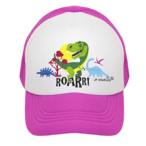 T-Rex Dinosaur on Kids Trucker Hat. The Kids Baseball Cap is Available in Baby, Toddler, and Youth Sizes. (Kiddo 2-5 Yrs, Hot Pink)