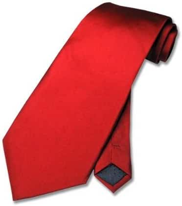 100% SILK Solid Rose RED Neck Tie. Men's NeckTie.